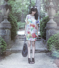 Rhiannon Leifheit - Self Made Floral Wreath, Dolce Vita Shoes, Capezio Bag, Ida Sjostedt Dress - Swan House