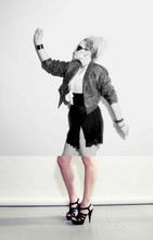 "Kasper Lorene - Thrift Store Leather Jacket, Rummage Sale Skirt, Bakers Platforms - ""Together we'll fly..."""