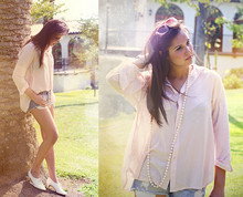 Stephanie Boyer - Forever 21 Oversized Pink Blouse - Sometimes I wish for falling