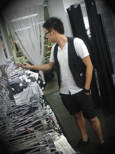 Jonathan Li - Heritage 1881 Pinstripe Vest, 5cm T Shirt, + X/ Shorts, Kenneth Cole Shoes - Black and White, why is not White and Black
