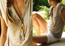 Leslie K - Murano Glass Leaf Necklace, Forever 21 Henley Ish Shirt, Lands End Canvas White Shorts - Straight from murano