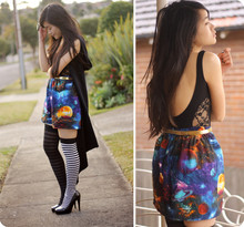 Jessica Tran - Fabric Thrifted, Friend Made. Space Skirt, Supre Lace Leotard, Socks, Cape - Intergalactic, you and me.
