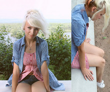 Jessi Towell - Wet Seal Denim Shirt/Dress, Guess? Plaid Blouse, Cutoffs, Keds - See What I've Done?