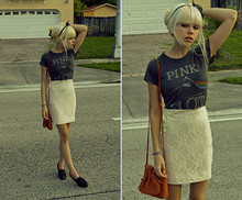 Zoe Paige - Pink Floyd Shirt, Urban Outfitters Lace Pencil Skirt, Goodwill Camel Shoulder Bag, Jeffrey Campbell Oxford Heels, Indian Warehouse Black Feather Headband - Brain Damage