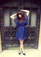 Rachel-Marie Iwanyszyn - Pitaya Navy Dress, Pitaya Black Velvet Wedges - In England