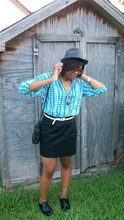 Chey Chanel - Fedora, Urban Outfitters Semi Precious Weapons Themed Necklace, Vintage Button Up, Buffalo Exchange Vintage Purse, Silence+Noise Mini Pencil Skirt - Sky Blue