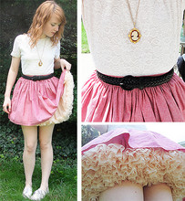 "Bebe Sharp - Sal Val Lace Shirt, American Apparel Pink Circle Skirt, American Apparel Champagne Petticoat, Cameo The Label Necklace - ""she looks like a cupcake"" - a little girl on the street"