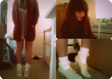 Jessica N - Thrifted Lavender Slip, American Apparel White Lace Socks, Cream Lace Up Oxfords, Thrifted Red Cardigan - Moving Process