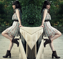 Maria C. - Jeffrey Campbell Bradley Boots, Madewell Harness Belt, Modcloth Trellis Dress - Bradley was her name