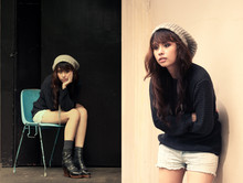 Dominique Marie Tiu - Promod Knitted Grey Beret, Dkny Oversized Pullover, Diesel Trusty Denim Shorts, Girlshoppe Multi Chained Silver Necklace, Sinta Multi Buckle Wedge Booties - I wish I were edgy enough to rock this look.