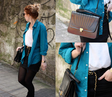 Cecille C - Ray Ban Sun Glasses, Vintage Shop Bag, Lefties Shirt, H&M Skirt, H&M Singlet, Casio Watch, Pull & Bear Belt - Ss