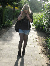 Sarah Bon - Primark Studded Blazer, H&M Denim Shorts, H&M Velvet Bag, H&M Wedges - THERE'S NO SEX IN YOUR VIOLENCE