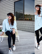 Lola Rose - Thrifted Boston Shirt?, American Apparel Black Leggins, Miu White Jazz Shoes - Excuses (ghost.toast)