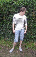 Leiam White - Topman Sailor Stripe Jumper, Topman Rolled Jeans/Shorts, River Island Grey Plimsole Pumps, Topman Assorted Beads - Summer Sailing.... If only I had a Yacht!