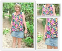 Jess R - Erika Floral Sleevless Top, Abercrombie And Fitch Frayed Denim Mini Skirt - A Walk at Spittle Pond