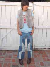 Cruz V. - Vintage Fur Vest, Vintage Lee Vining Fire Dept. Shirt, Vintage Jeans, Vintage Botas - MY SOAP WON'T FLOAT