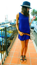 Clara S. - H&M Black Hat, Gap Blue Dress, Stradivarius Belt, Black Flat Sandals, Pull & Bear Pink Bag - Bonus