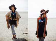 Crystal Wood - Jc Penney Grey Acid Wash Jeans, Goodwill Camel Cape, Goodwill Ethnic Print Dress, Goodwill Sheer Black Lingerie Top, Charlotte Russe Brown Floppy Hat, Dilliards Black Sandals - Wake Up Little Sparrow