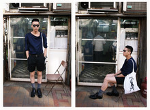 Perry Kwong - Yves Saint Laurent Ysl Tote Bag, London Bridge Mirror Eyewear - BLUE & BLACK// ss10
