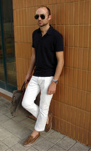 Beyond Fabric - H&M Jersey Polo Shirt, Massimo Dutti White Jeans, Buttero Boat Shoes, Troop London Holdall - On the way to work...38ºC