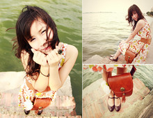 Zen Huo - From My Sister One Shoulder Dress, ChắP Vá Boutique Vintage Bag, Flower Ring, Vintage Leather Shoes - Lake and wind