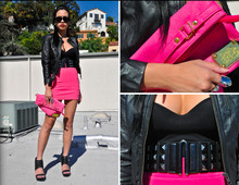 Marilyn N. - H&M Leather Jacket, H&M Hot Pink Skirt, Unknown Brand Pink Clutch, Unknown Brand Belt, Aldo Gersten Wedge - Colors of my Rainbow.
