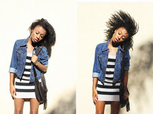 Amara nichole . - Thrifted Jean Jacket, Striped Dress - Honey, Its Just Me And You ... Against The World.