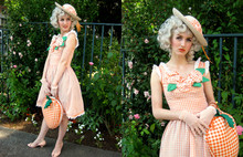 Stella Rose . - Thrifted And Heavily Customized Orange Gingham Floral Straw Hat, Thrifted And Reworked Orange Gingham Floral Sun Dress, Freemont Antique Mall Orange Gingham Orchard Bag, Steve Madden Peach Peep Toe Kitten Heels, My Mom Vintage Pink Mesh Gloves - A Late Summer Wedding