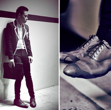 Dennis Robles - Louis Vuitton Grey Rubbed Capped Oxfords, Hermës Brown Clutch, Spy By Benry Lau Black Blazer With White Trims, H&M White Longsleeved Shirt, Zara Skinny Pants - Look # 280