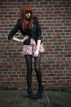 Olivia Emily - Studded Leather Biker, Black Mesh Insert Top, Pink Floaty Skirt, Studded Pixie Boots - This is a .44 caliber love letter, straight from my heart.