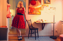 Sandra Beijer - Vivien Of Holloway Dress, Vintage Belt, Prada Pumps - Polka dot.