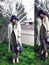 Aleisha Z - Vintage Akubra, Vintage Trench, Shakuhachi Silk/Mesh Dress, Moschino Bag, Claire Inc Strummer Boots, Sass And Bide Leopard Pants - Norockwithoutplastic.blogspot.com