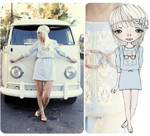Kelli Murray Larson - Free People Headband, Urban Outfitters Oxford Flats, H&M Smock Dress, Anthropologie Necklace - BABY BLUES