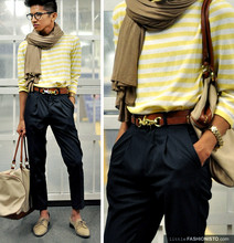 Mc kenneth Licon - Zara Light Brown Jersey Scarf, Vintage Stripped Yellow Sweater, H&M Bag Strap Turned Into Belt, Altered From An Old Pants. Kids Trousers, Zara Nude Oxford - Let me know when summer is over