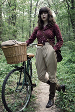 Maria C. - Etsy Vintage Riding Breeches, Vintage Pheasant Blouse, J.Crew Canvas And Leather Riding Boots, Millicent, My Vintage Bicycle - Once more unto the breach, dear friends