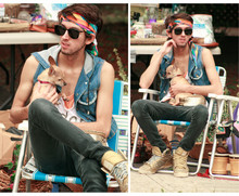 Bobby Raffin - Gypsie Headband, Vintage Shades, My Dog Chiquita, Bongo Drums, Thrifted Denim Vest, Gold Chainmail Fanny Pack, Thrifted Black Skinnys, Adidas Gold, Diy Tank, Plain Tank - The Garage Sale