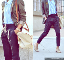 Mc kenneth Licon - Ralph Lauren Dad's Vintage And Oversize Polo Shirt, Zara Womens Boyfriend Fit Blazer, Kids Dept. Altered Trousers, H&M Leather Pipping Duffule Bag, Gifted To Me Vintage Brooch, Zara Nude Oxford - Back to School