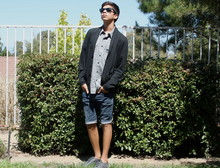 Blake Keif - Urban Outfitters Black Cardigan, Sun Diego Grey Collared, Toms Grey Laced, Levi's® Blue Shants - Walking on a Dream