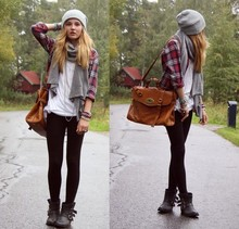 Karolin L - Bikbok Hat, Bikbok Shirt, Alexa Bag Lookalike, Dinsko Boots, Gina Tricot Basic White Tee - SEPTEMBER