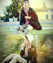 Adam Gallagher - 2nd Hand Green Varsity Cardi, Urban O Plaid, Urban O Messenger, Creme Beanie - In session