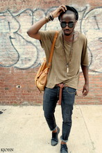 Kadeem Johnson - John Varvatos Shirt, Cheap Monday Jeans, Thrifted Bag, Diesel Shoes, Ray Ban Shades - BACK TO SCHOOL www.kjohnlasoul.com