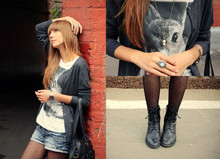 Lily P. - Accessorize Bag, Oasis Workboots, Mango Shorts, Rolex Watches, Accessorize Tights, H&M T Shirt - Once upon a September)