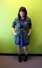 Adiel C - Gap Military Anorak, Tulle Navy Dress, Thrifted Brown Braided Belt, Brown Socks, Black Lace Up Flats - Extremely Cheap Shoes