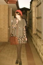 Claire Mcmanus - Thrifted Bag, Thrifted Loafers, Dotti Collared Jacket, Dotti Floral Dress - Woolly Tights On Cold Nights