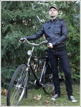 Ivan Johannes - H&M Leather Jacket, H&M Jeans, Giorgio Armani Eye Wear, Gazelle Holland Bicycle - Ready for cycling.