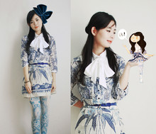 Nancy Zhang - Zara Blouse And Skirt, Cos Collar - Blue white porcelain Part 3