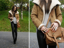 Marthe E. - H&M Leather Pants, Asos Bag, Zara Shearling Jacket, Yves Saint Laurent Rings - Http://shoerapists.blogspot.com