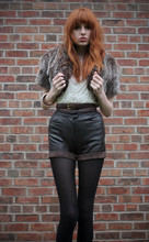 Olivia Emily - Fake Fur Shawl, Floaty Top, Leather Shorts - Go insane and out of your mind.