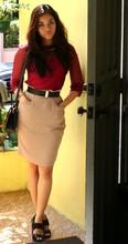 Kate H - Vintage Top, Zimmerman Skirt, Christian Dior Belt, Robert Robert For Zomp Platforms - Hot hot heat