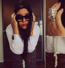 Luana Love Lee - Vivienne Westwood Armor Ring, Chanel Vintage Bead Necklace, Forever 21 Chain Headband - Armor up